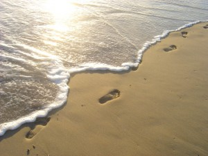 seashore with footprints